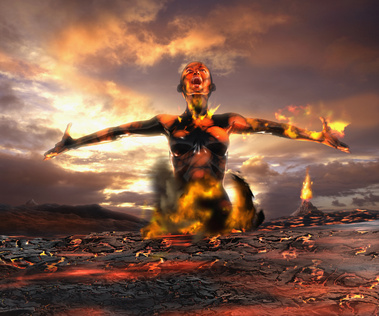 Digital composite of Asian woman emerging from lava