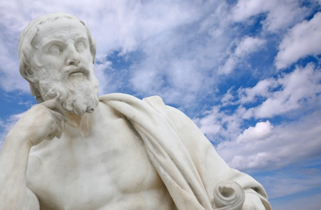philosopher with blue sky