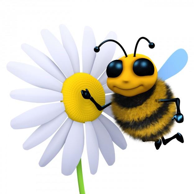 3d Flower attracts honeybee