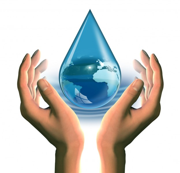 hands with a blue drop with globe inside