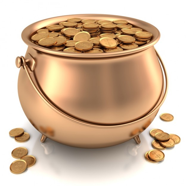 Golden pot full of gold coins with dollar sign.
